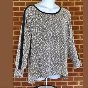 CALVIN KLEIN Textured Black White Sweater 0X NWOT